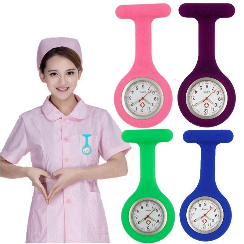 Luminous Zeiger Silikon weiche Krankenschwester Uhren Frauen Damen Arzt FOB Taschenuhr medizinische Brosche Krankenhaus Quarz-Uhren hängen