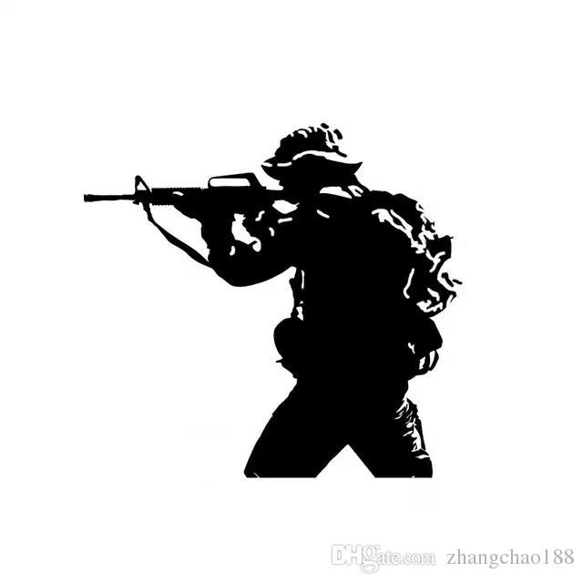 15.6*14.6CM soldier Weapon Gun Decoration Vinyl Decal Car Sticker Black/Silver CA-1255