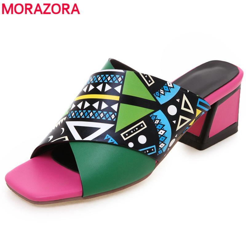 MORAZORA 2019 sapatos da moda verão mulheres sandálias cores imprimir pu sapatos de couro quadrado saltos altos sandálias senhoras casamento mulas