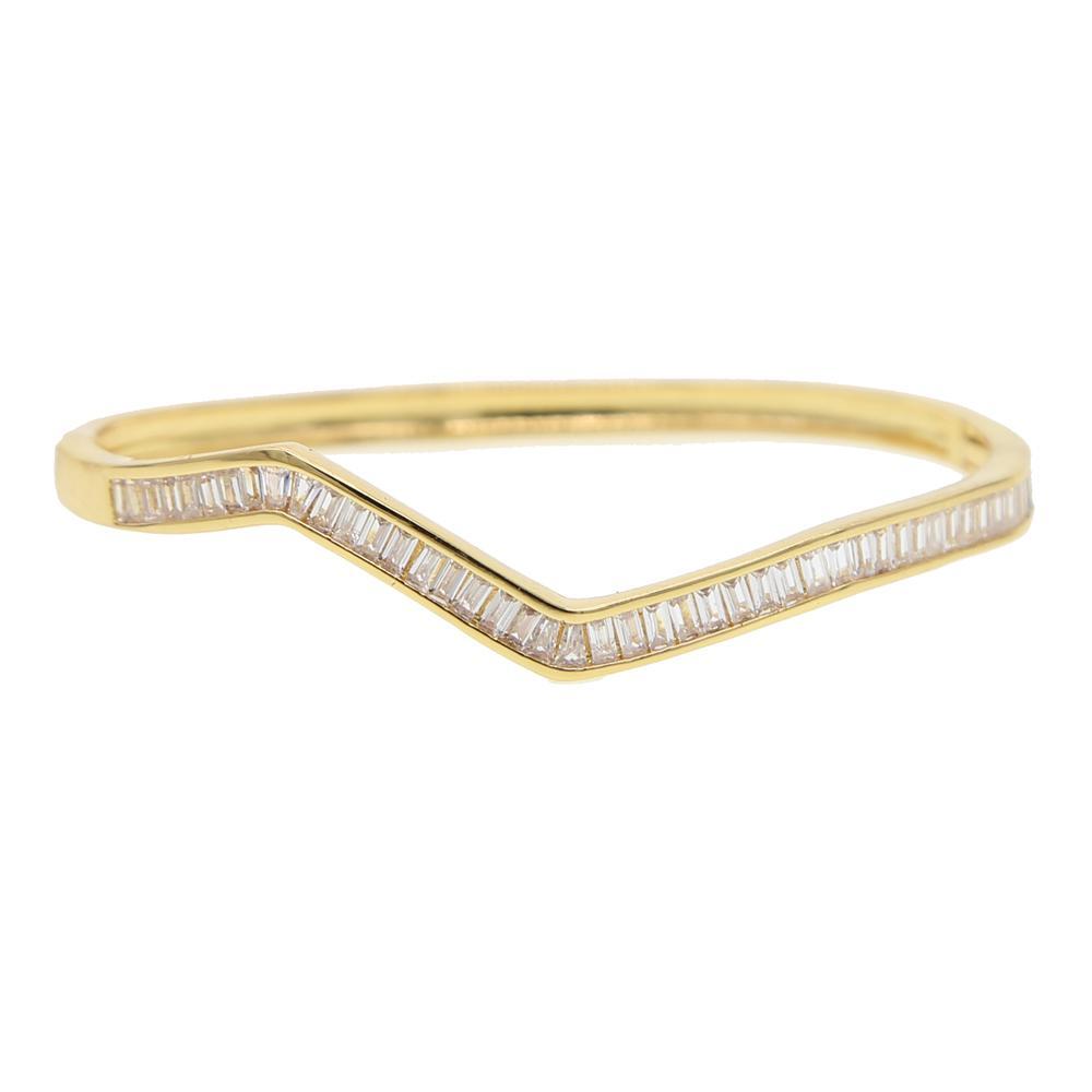 lunette de luxe de la mode Bracelet manchette gros- baguette zircons étincelles bling bijoux femmes de mode de haute qualité