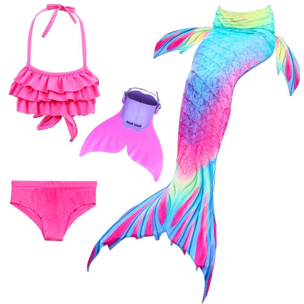 الأطفال حورية البحر ذيول مع الفتيات الاطفال ازياء تأثيري swimmable المايوه ليتل ميرميد المايوه للسباحة