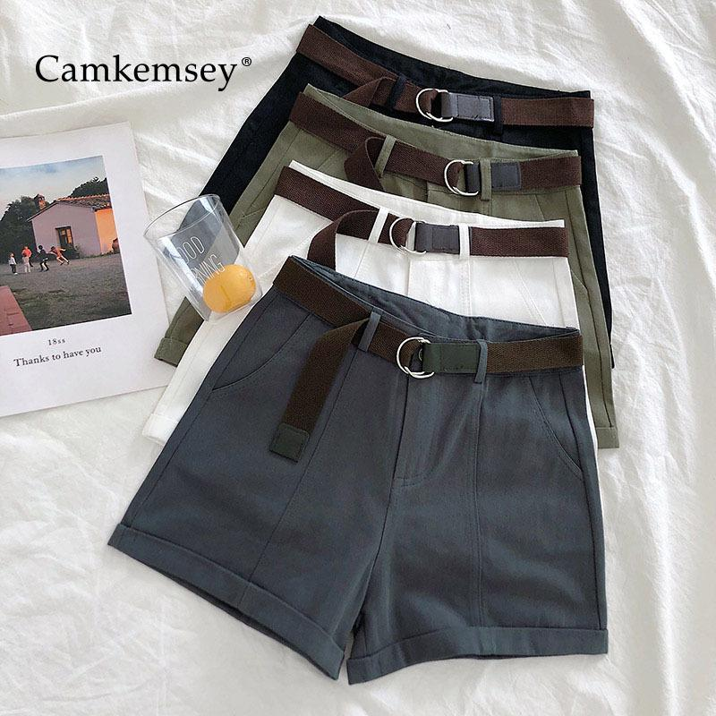 Camkemsey Summer Shorts Women 2019 Korean Casual High Waist Classic Cuffed Cargo Shorts With Sashes 5 Colors Y19050905