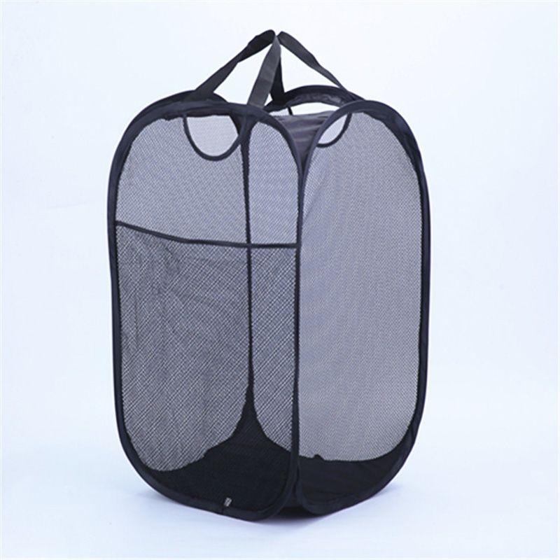강력한 메쉬 팝업 세탁물 함정 품질의 세탁 바구니 내구성이 뛰어난 손잡이가있는 단단한 밑면 고 탄소강 프레임 접기