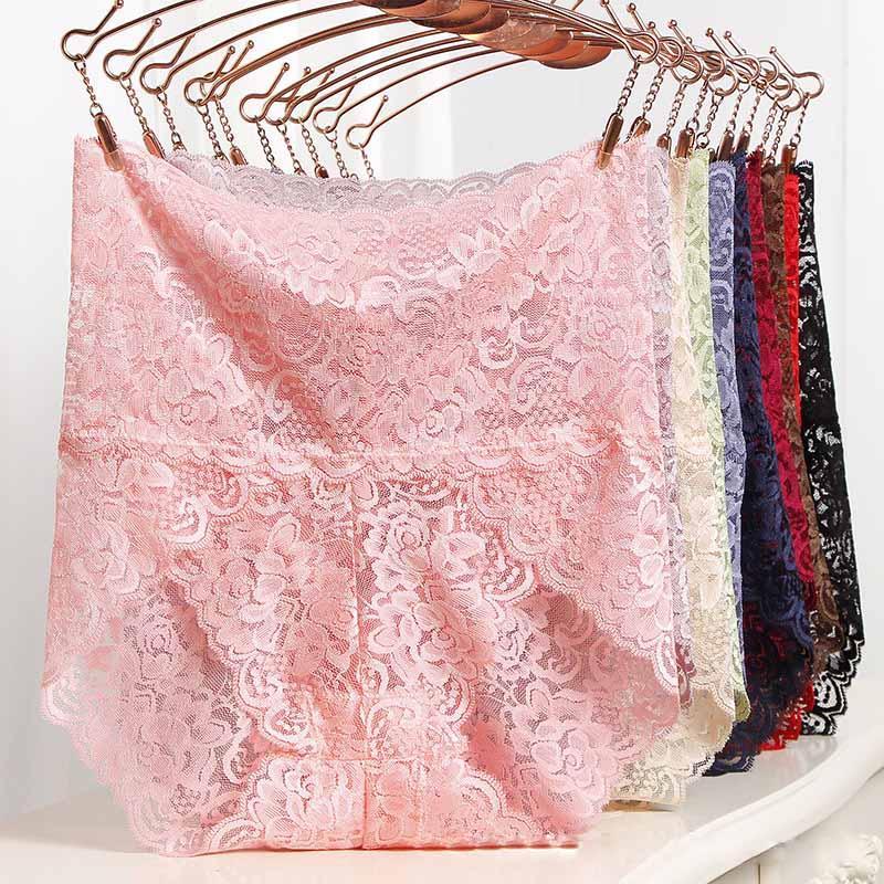 women clothes sexy lace panties luxury transparent large size breathable Hollow underwear elegant soft woman briefs plus size Lingerie Brief