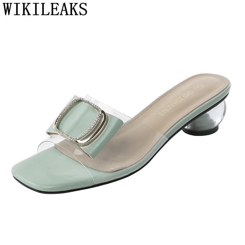 Diapositivas deslizadores del verano de las señoras de los zapatos del diseñador zapatillas de lujo Transparente tacones altos de las mujeres claras para los talones
