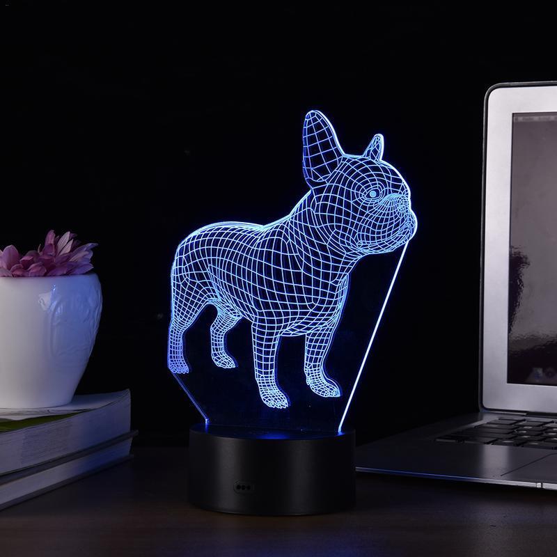 7 가지 색상 프렌치 불독 3D LED 야간 램프 USB 홀로그램 장식 램프 탁상용 수면 조명 생일 크리스마스 선물 Dropshipping