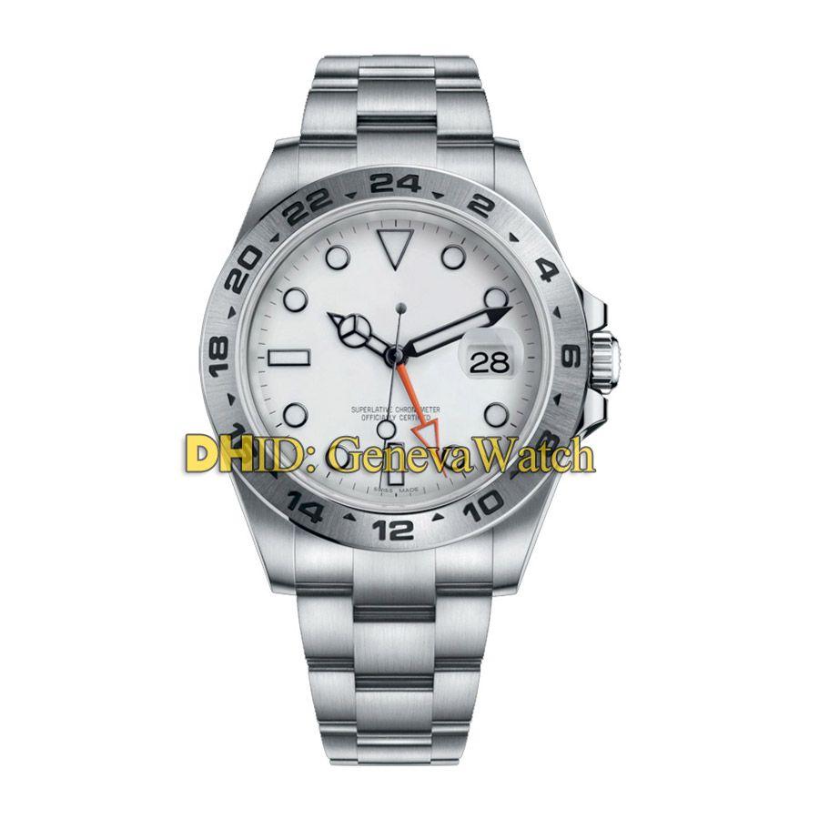 Montres de luxe pour hommes Cadran blanc GMT Explorer m216570-001 Date automatique CAL.3187 Montre de mouvement automatique 42mm montres en acier 904L designer