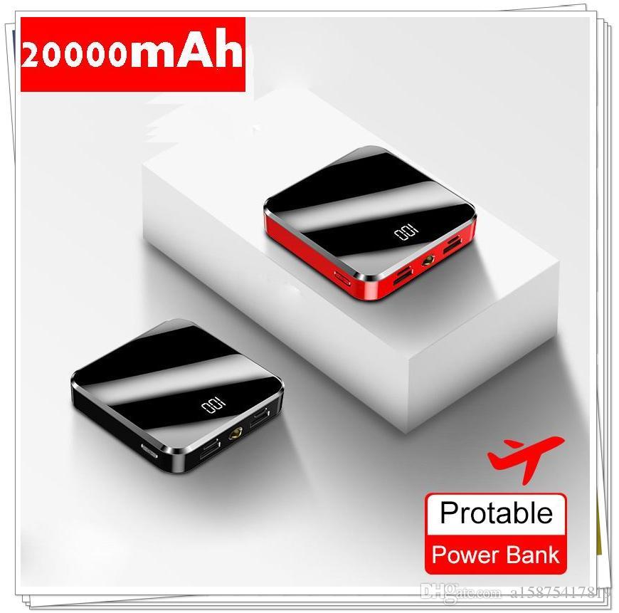 Mini Power Bank 20000mAh 5V 2A Espelho Tela Poverbank bateria externa carregador portátil 20000 mAh powerbank
