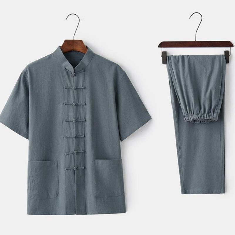 رجل صيفي جديد ShirtPant صيني ياقة Tai Chi Tang بدلة تقليدية Single Breasted Set زائد حجم 3XL 4XL