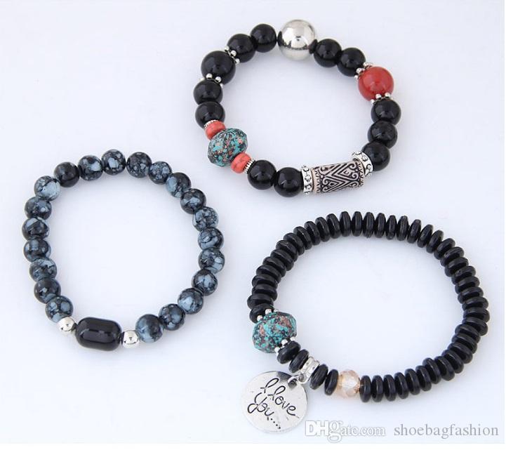 Bohemia Bracelets for Women Jelly Stone Beads Bracelets & Bangles Love Charm Pulseras Ethnic Style Elastic Bracelet Femme