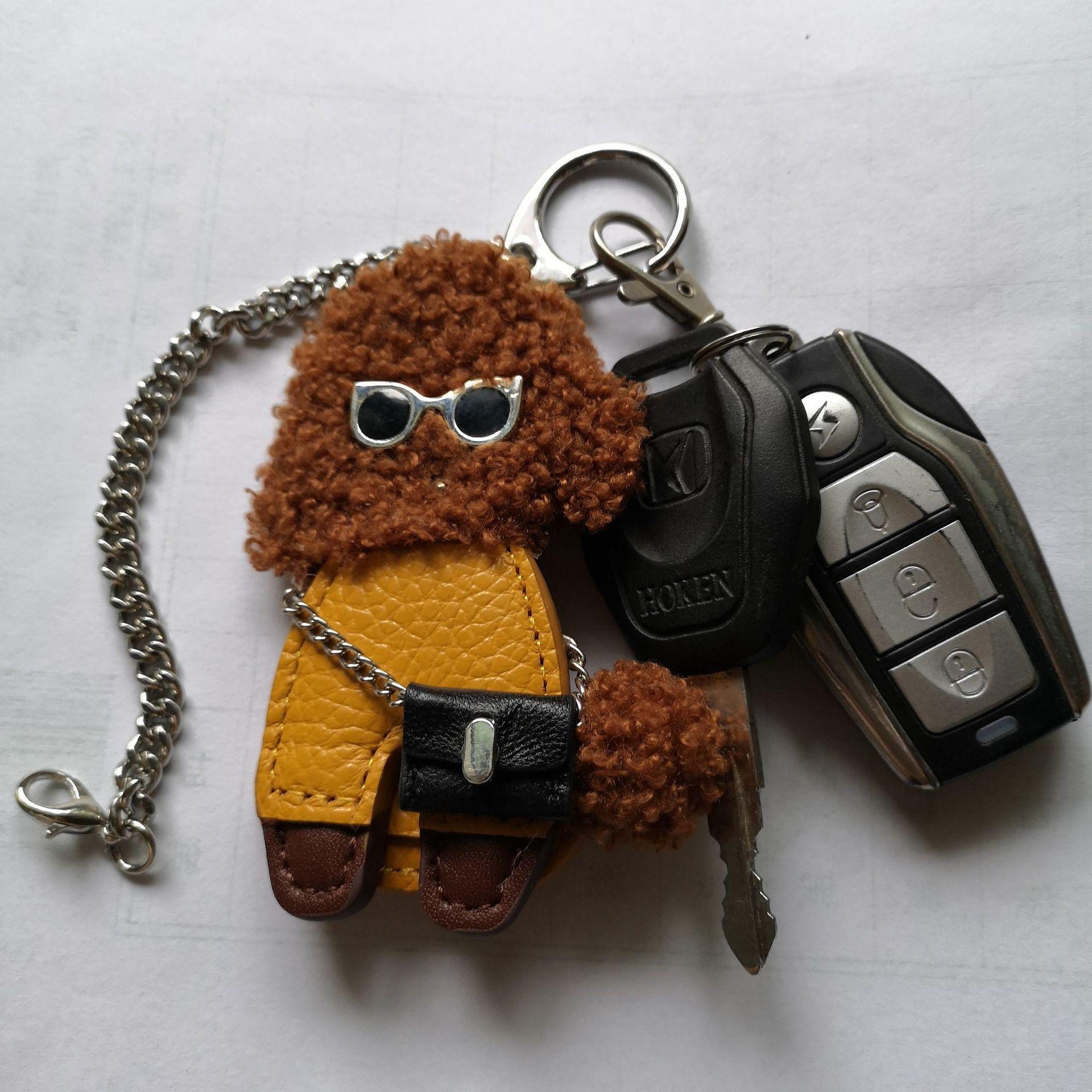 2019 Creative Leather Small Teddy Image Bags Colgante Pequeño Plush Leather Teddy Keychain Accesorios de Moda Juguetes Regalos