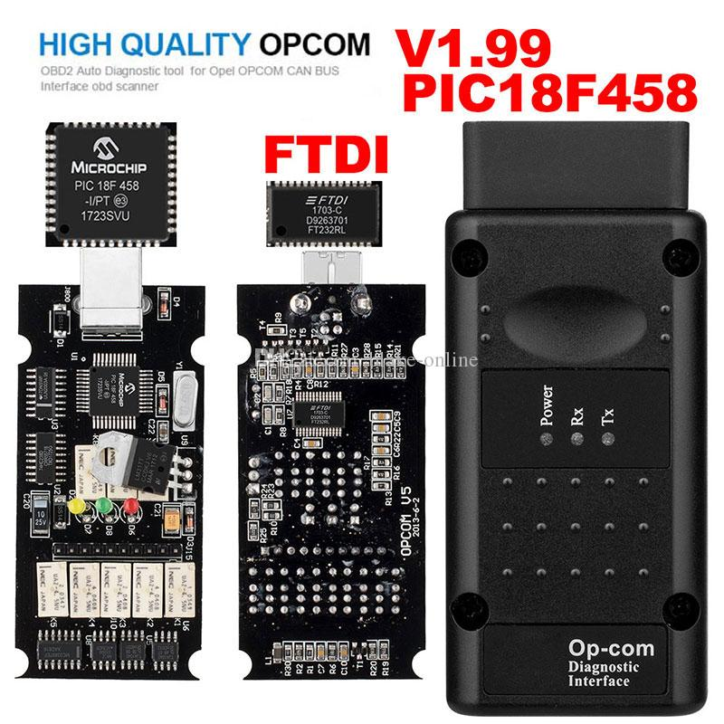 Opel OPCOM V1.99 مع PIC18F458 FTDI Op-com OBD2 أداة تشخيص السيارات OBD الماسح الضوئي OP COM CAN BUS Interface Kit Software تحديث USB