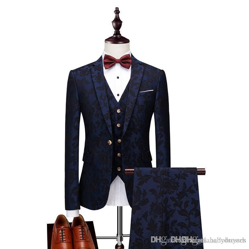 2019 Hommes Costumes Imprimer Marque Homme Bleu Marine Mens Floral Blazer Designs Hommes Paisley Blazer Slim Fit Costume Veste Hommes De Mariage Smokings