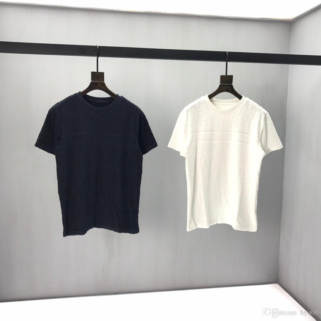 2020ss primavera e algodão novo alto grau de verão impressão de manga curta rodada painel pescoço t-shirt Tamanho: m-l-xl-XXL-XXXL Cor: Q62 preto branco