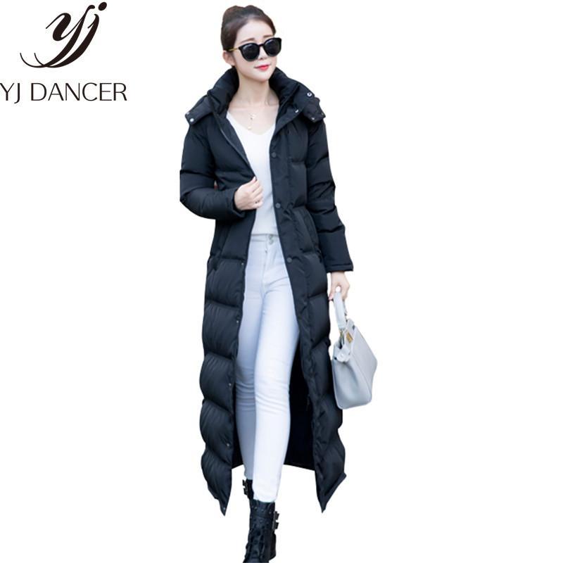 Зима 2018 Мода Новый пуховик Женский Super Long Колено Утолщение Тонкий корейской капюшоном воротник женщин вниз куртка CSS337