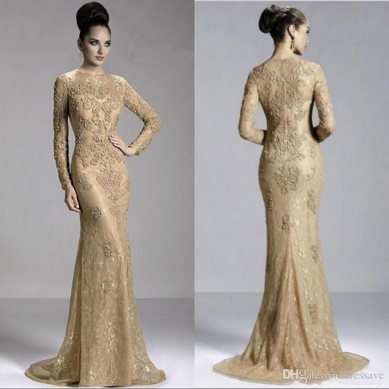 2020 gouden sexy lange mouwen juweel avondjurk rits sweep trein formele prom moeder jurken met kant kralen parel appliques Arabisch