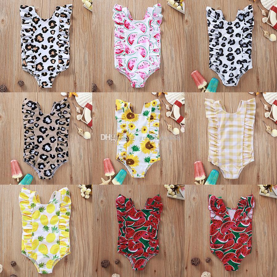 INS Baby One-Pieces девушки подсолнечник леопардовый принт купальники дети лето арбуз купальники ребенок треугольник пляжная одежда бикини одежда M1795