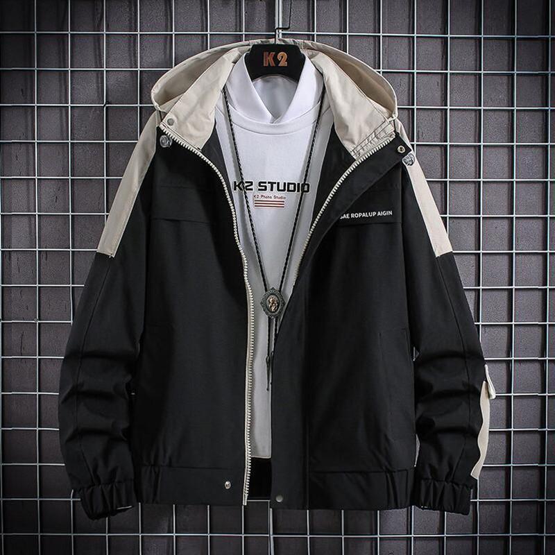 Men's Jackets Fashion Windbreaker Long Sleeve Plus Size M-5XL Jackets Zipper Pocket Casual Hoodie Coat School Plaid