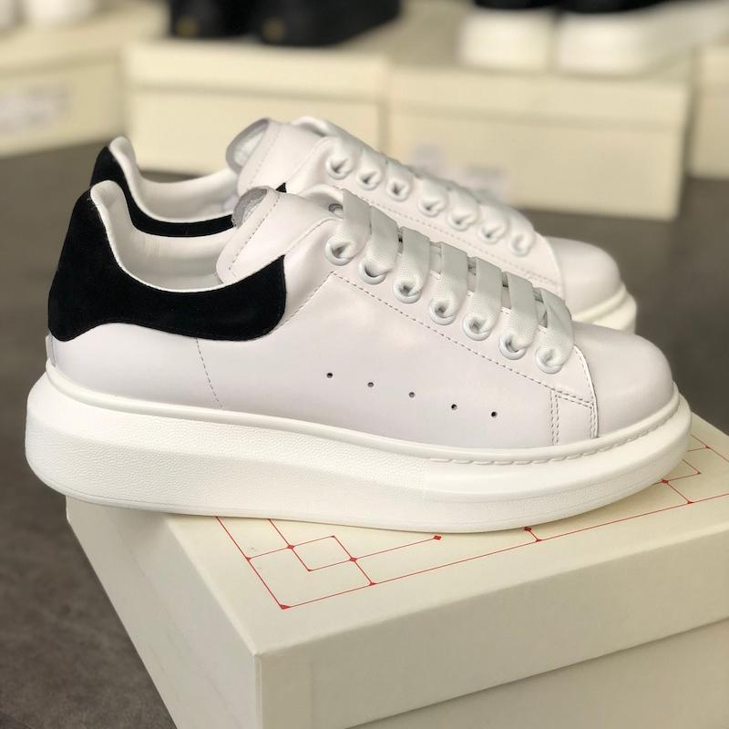 Scarpe piattaforma Donne Uomini Sneakers riflettente 3M di cuoio bianco formatori pattini casuali piani festa di nozze pelle scamosciata di sport scarpe da tennis con la scatola