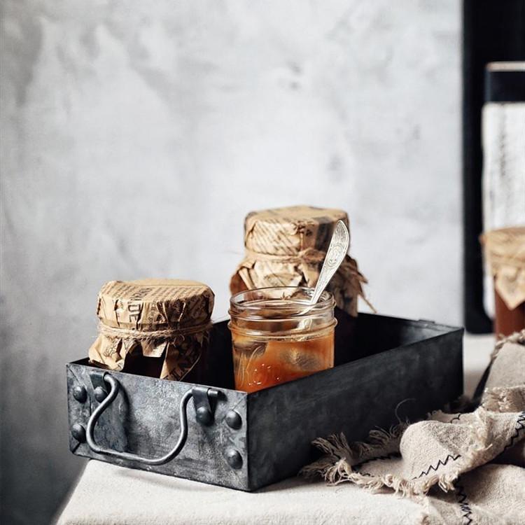 Rectangulaire française Pays Antique Fer Plateaux de rangement en métal rétro Plateau Mêle Petit pain gâteau Assiette carrée Boîte