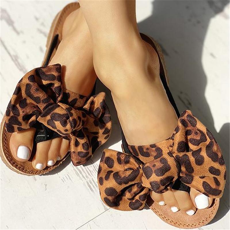 Kadınlar Yaz Bow Yaz Sandalet Terlik Kapalı Açık Ayaklı-flop Plaj Ayakkabı Kadın Moda Çiçek Düz Sandalet