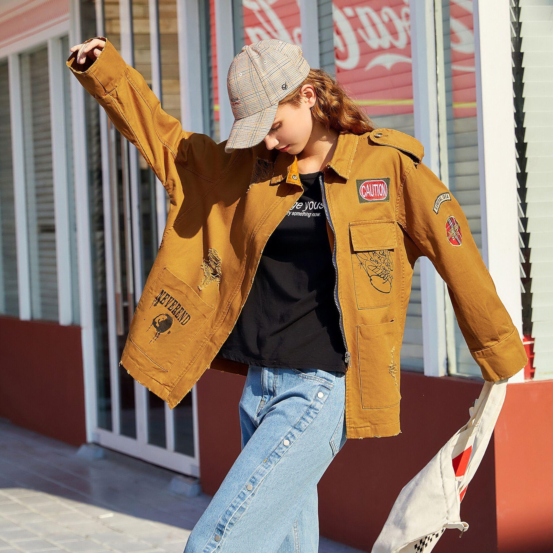Otoño japonés retro grado BF chaqueta de trabajo neutra marca Tide de América con múltiples bolsillos mujer de la capa del dril de algodón de las mujeres