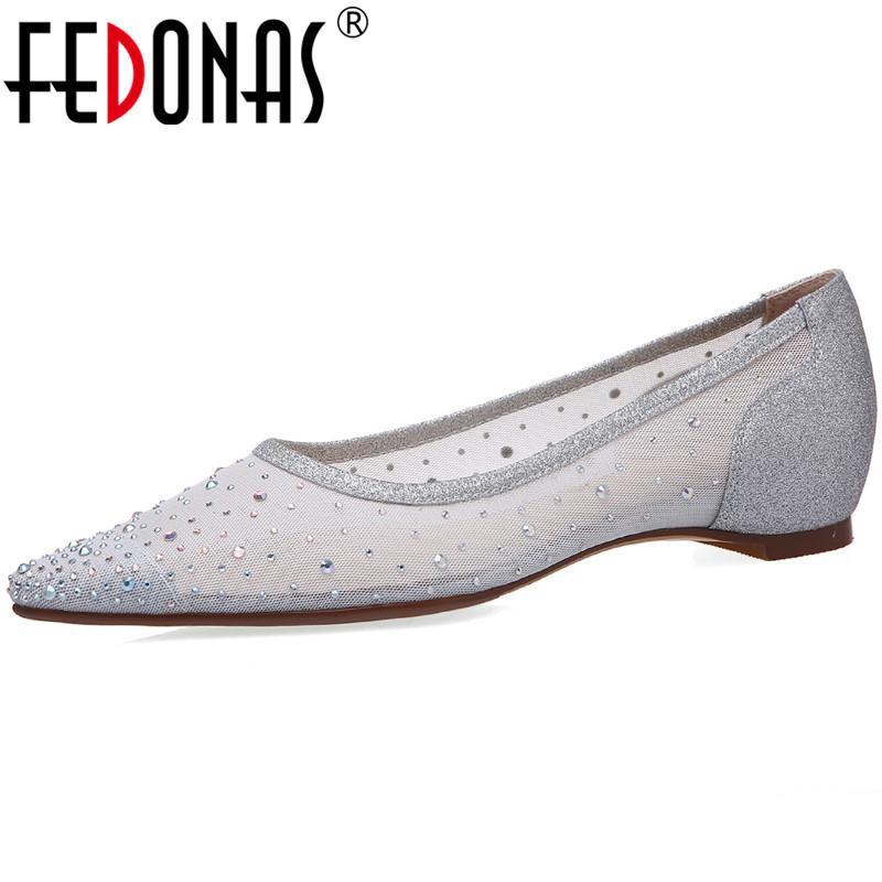 Fedonas BlingBling Rhinestone Mulheres e sapatas lisas Top Outono 2020 Shoes Pointed Toe para mulheres Moda Mulher da dança do casamento