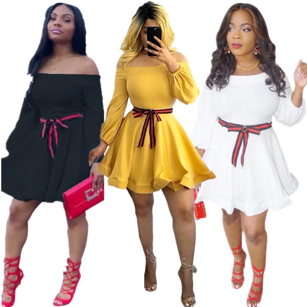 Autumn and winter 2019 new style Dress European and American Fashion sexy nightclub Wear slash neck with belt ribbon dresses
