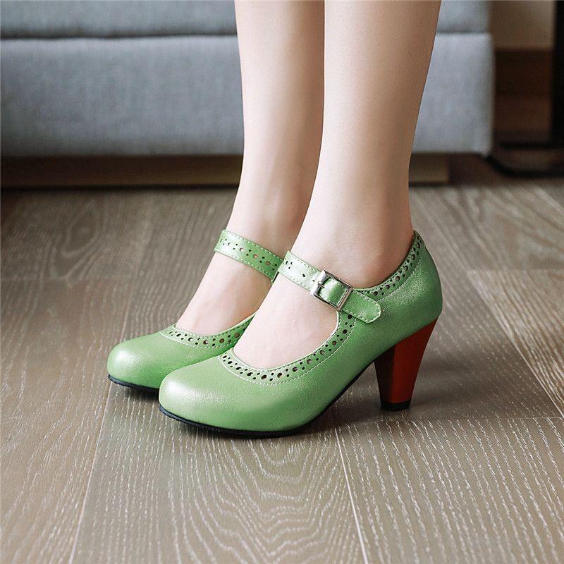 YMECHIC 패션 봄 2020 그린 퍼플 메리 제인 여자 신발의 발 뒤꿈치 버클 사무실 드레스 블랙 베이지 높은 뒤꿈치 여성 (43)을 펌프