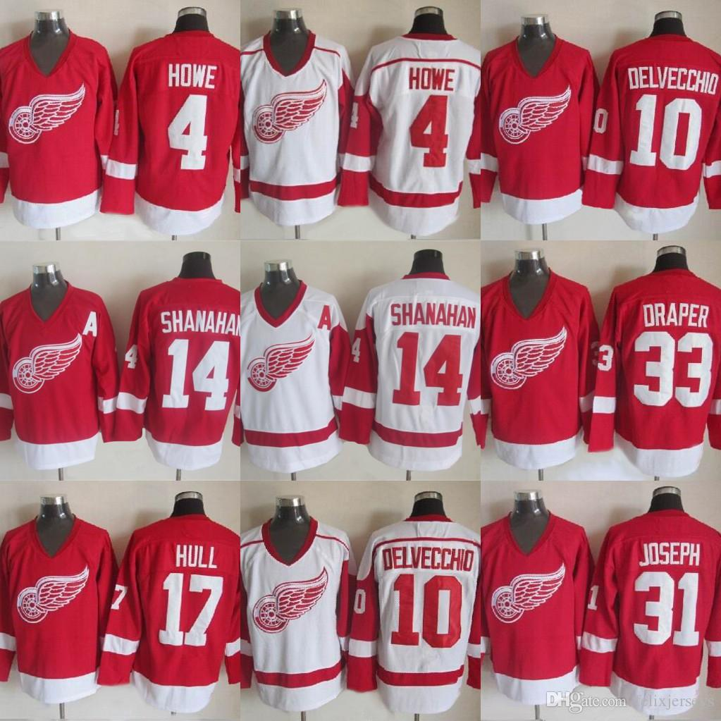 10 Alex Delvecchio Detroit Alas rojas 33 Kris Draper 31 Curtis Joseph 14 Brendan Shanahan 17 Hull 4 Gordie Howe Hockey Jersey