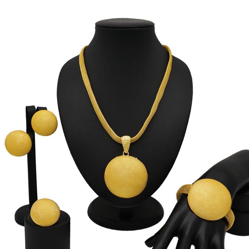 K mağaza Afrika takı setleri süper altın küpe parti evlilik yıldönümü nijerya halka kolye büyük Madalya