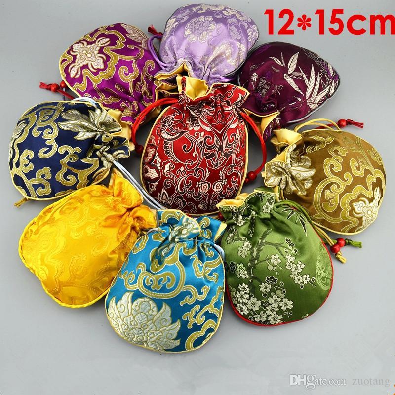Cotton preenchido Thicken pequeno seda sacos do favor do presente da festa de Natal Wedding Bags Floral Brocade Jóias Embalagem Sacos Bolsa com cordão 10pcs