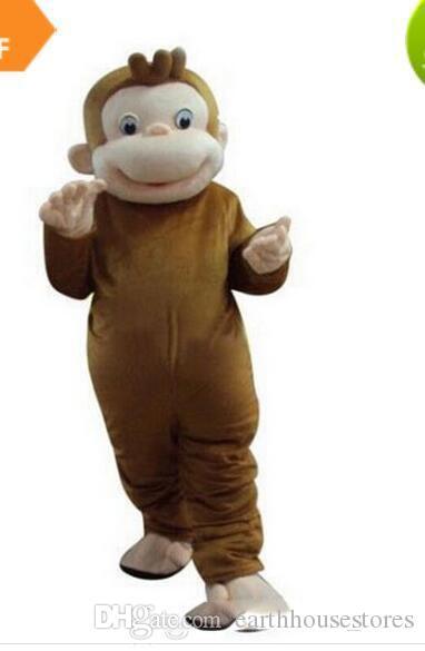 Neugierig George Monkey Maskottchen Kostüme Cartoon Abendkleid Halloween Party Kostüm Erwachsene Größe Freies Verschiffen