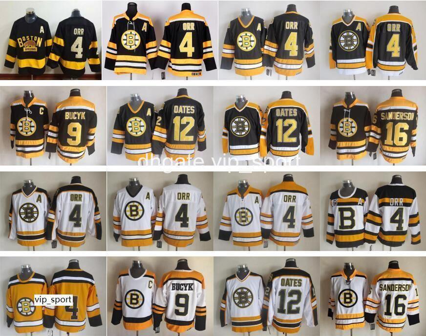 Boston Bruins Jersey Men 4 Bobby Orr 9 Johnny Bucyk 12 Adam Oates 16 Derek Sanderson Ice Hockey Jerseys Vintage Home Blick White