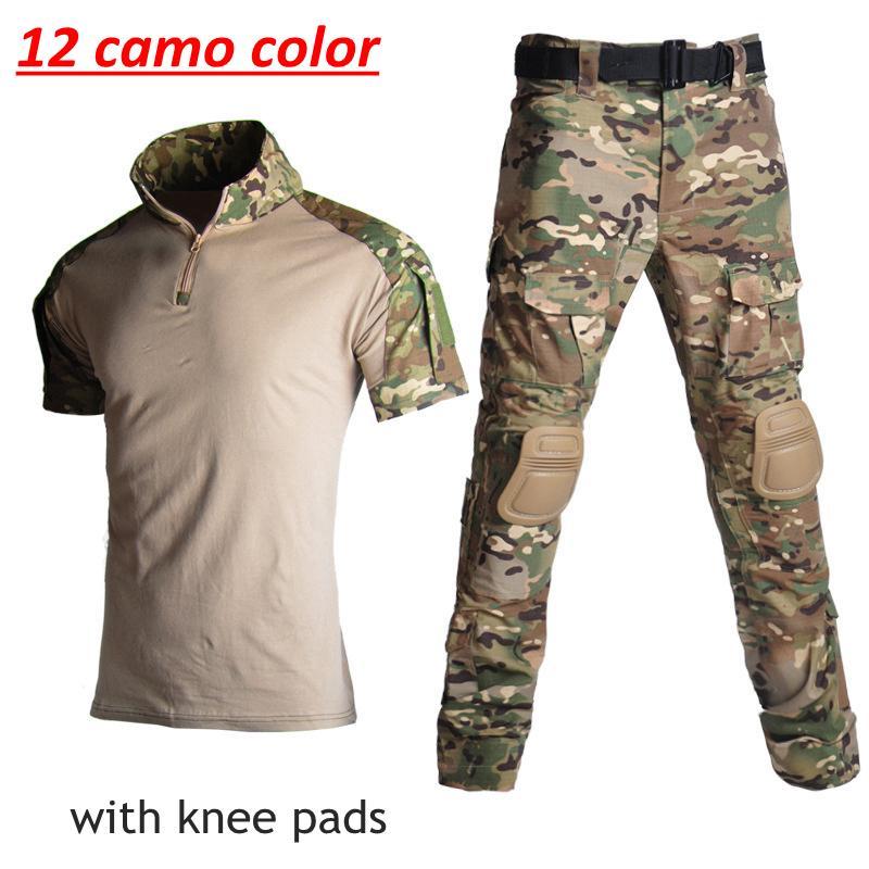 Uniforme tattico del camuffamento dell'esercito Tuta da allenamento a maniche delle magliette + pantaloni di caccia abbigliamento con Ginocchiere