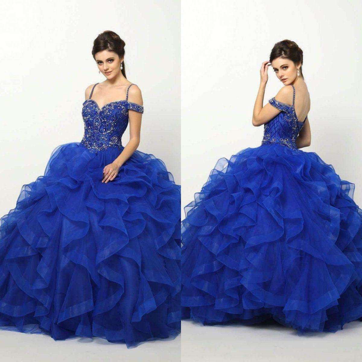 Royal Blue Beaded Prom Dresses Sin mangas Lujo Quinceañera Sweet 16 Masquerad Vestidos de fiesta Corsé Vestido de fiesta Vestido de noche Fuera del hombro