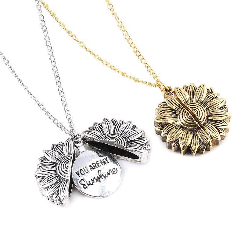 Выгравированные вы мой солнечный свет подсолнечника медальон кулон ожерелье мода ювелирные изделия женские ожерелья будут и песчаные