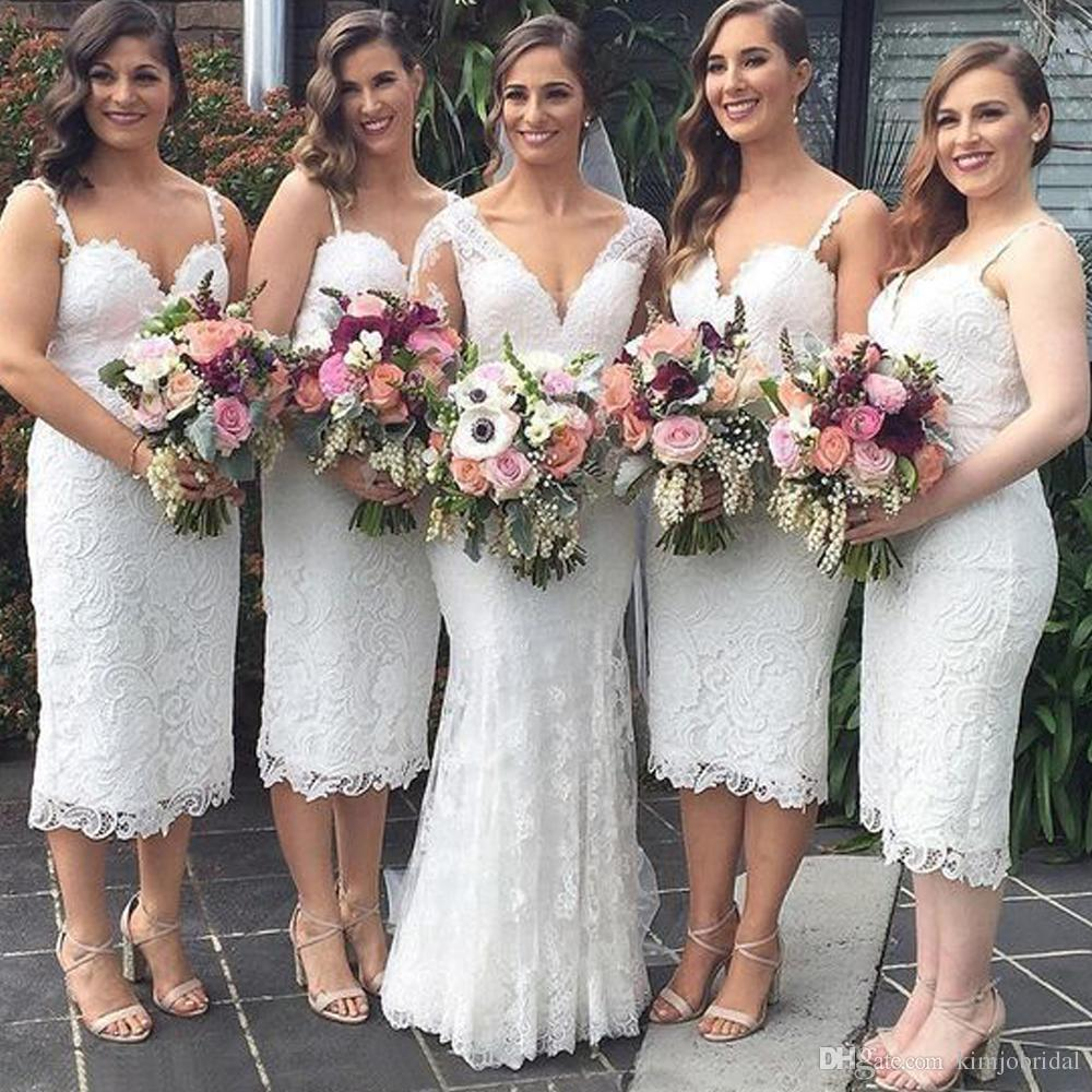 lace short white bridesmaid dresses