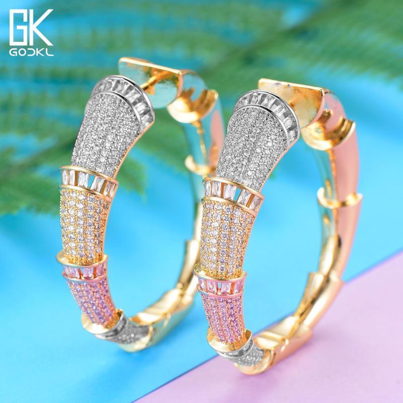 GODKI Bambus Knoten Zirkonia Statement Big-Band-Ohrringe für Frauen Hochzeit DUBAI Braut runder Kreis-Band-Ohrringe