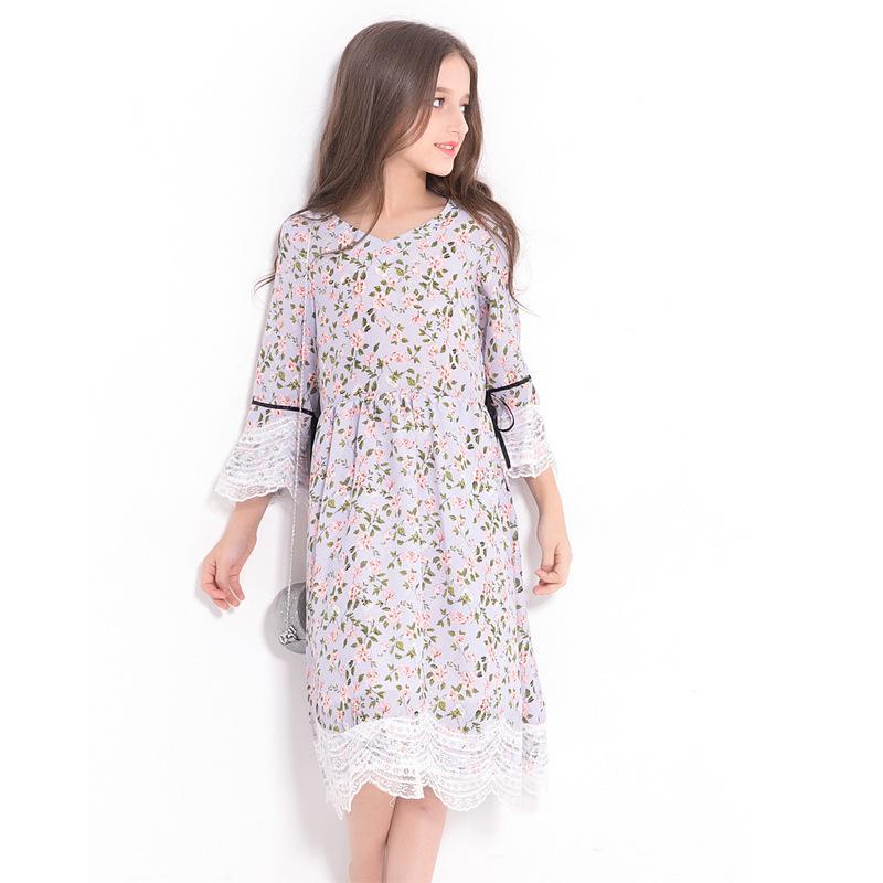Princess Girls Floral Print Chiffon Dress Long Sleeve Lace Dress Teenage Girl Summer Autumn Outfit size 8 10 12 14 years Muslim