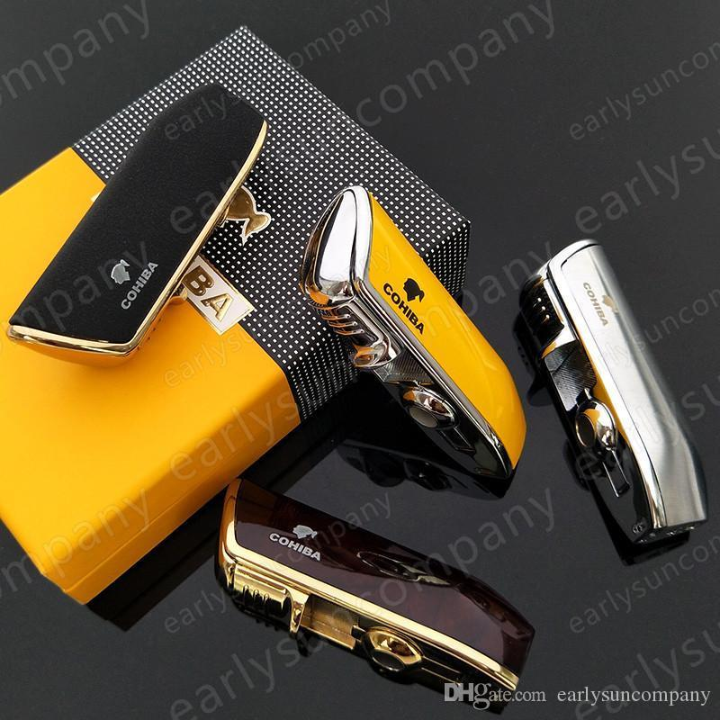 Beautiful Creative High Quality COHIBA Yellow Metal 3 Torch JET Flame Cigar Cigarette Lighter With Punch