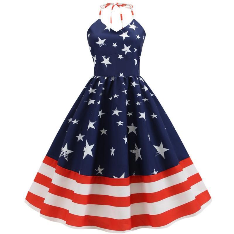 Women Retro Vintage Dress Star Flag Printed Swing Pin Up Party Halter Dresses Elegant Vestidos Casual Sleeveless A Line Dress