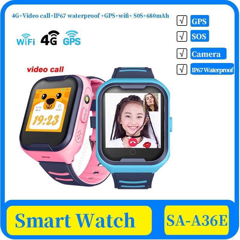 100x 4G Network A36E Wifi GPS SOS Smart Watch Kids Video call IP67 waterproof Alarm Clock Camera Baby Watch VS Q50 Q90