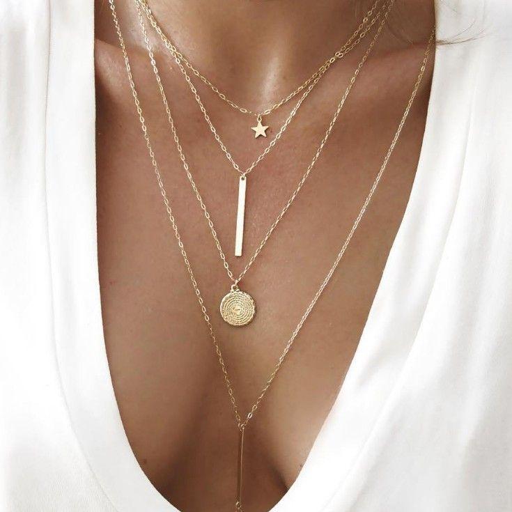 Boho de la nueva vendimia de múltiples capas collar colgante de oro de las mujeres collar de la estrella cuernos del metal tribal del collar del collar de plata