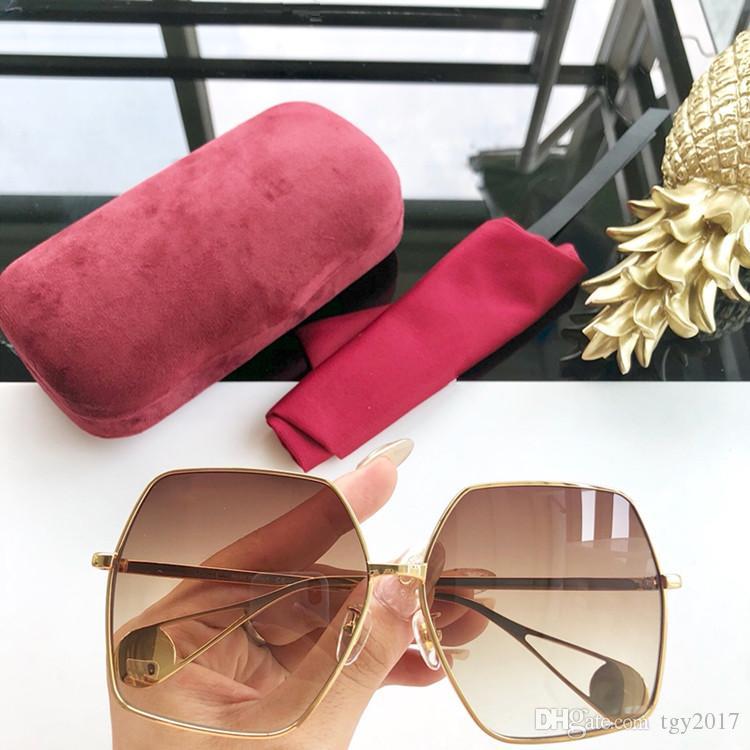 Fashional big-aro óculos GG0536 de metal irregulares UV400 61-15-145-alta qualidade óculos de sol modelo estrela hotsale com caso full-set