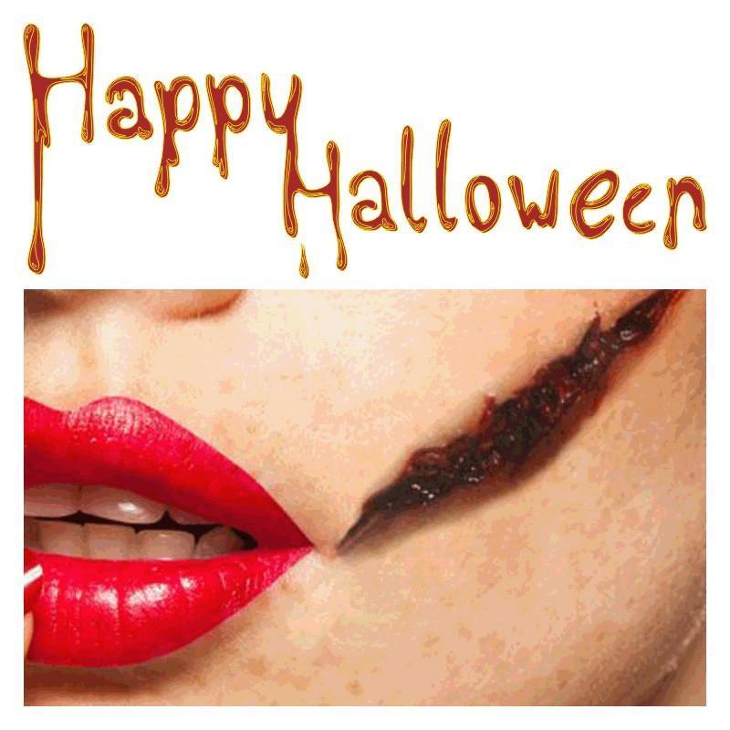 Tatuaje de Halloween Etiquetas engomadas impermeables de Halloween con sangre Sangrado cicatrices Scary tatuaje temporal a prueba de agua pegatinas tatuaje maquillaje sangriento DHA544