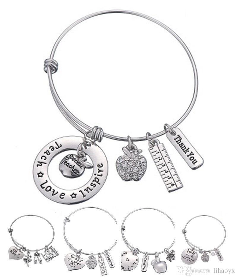الحب إلهام تعليم الأبيض أبل كريستال حاكم سوار الفولاذ المقاوم للصدأ قلادة الإسورة مجوهرات هدية المعلم صديق DLH204