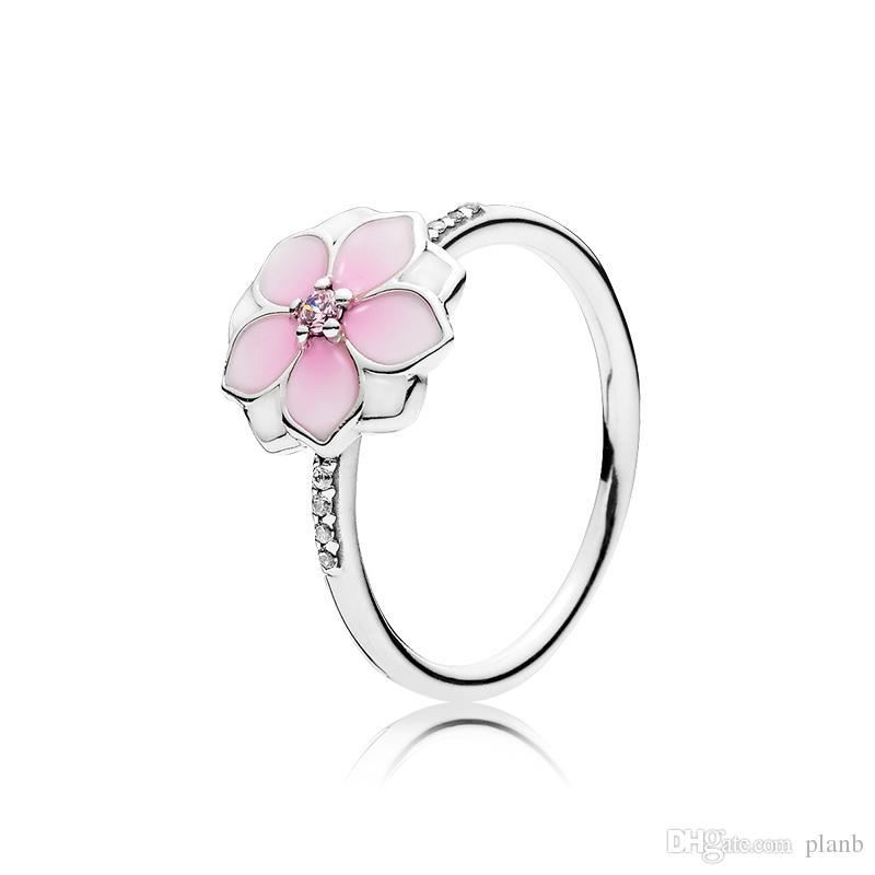 Cerise pálido esmalte anillos de color rosa CZ Conjunto caja original para la boda la novia de Pandora 925 Magnolia Bloom anillo de las mujeres