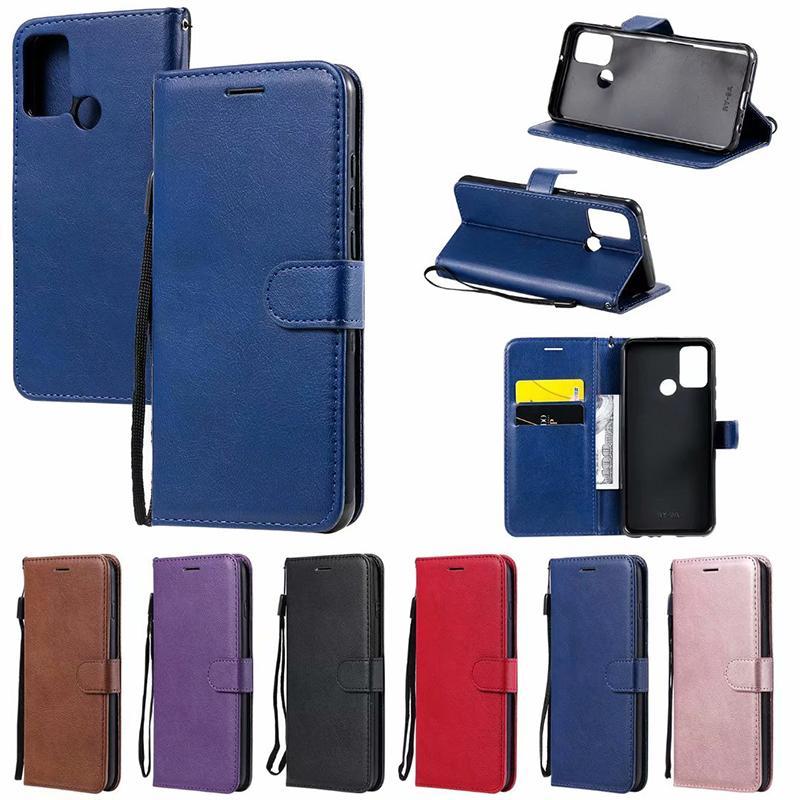 Soporte del tirón llano con el teléfono celular de la ranura de tarjeta caja de la carpeta de piel cubierta para Huawei P40 P40 PRO litée Y5P Y6P P SMART 2020 de honor 30 NOVA7 9A Pro