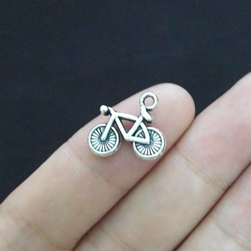 50 adet 14 * 15mm Antik Gümüş Vintage Bisiklet Charm Kolye Jewlery Yapımı